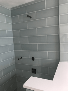 Tile Installation of bathroom wall | Hampton Flooring Center