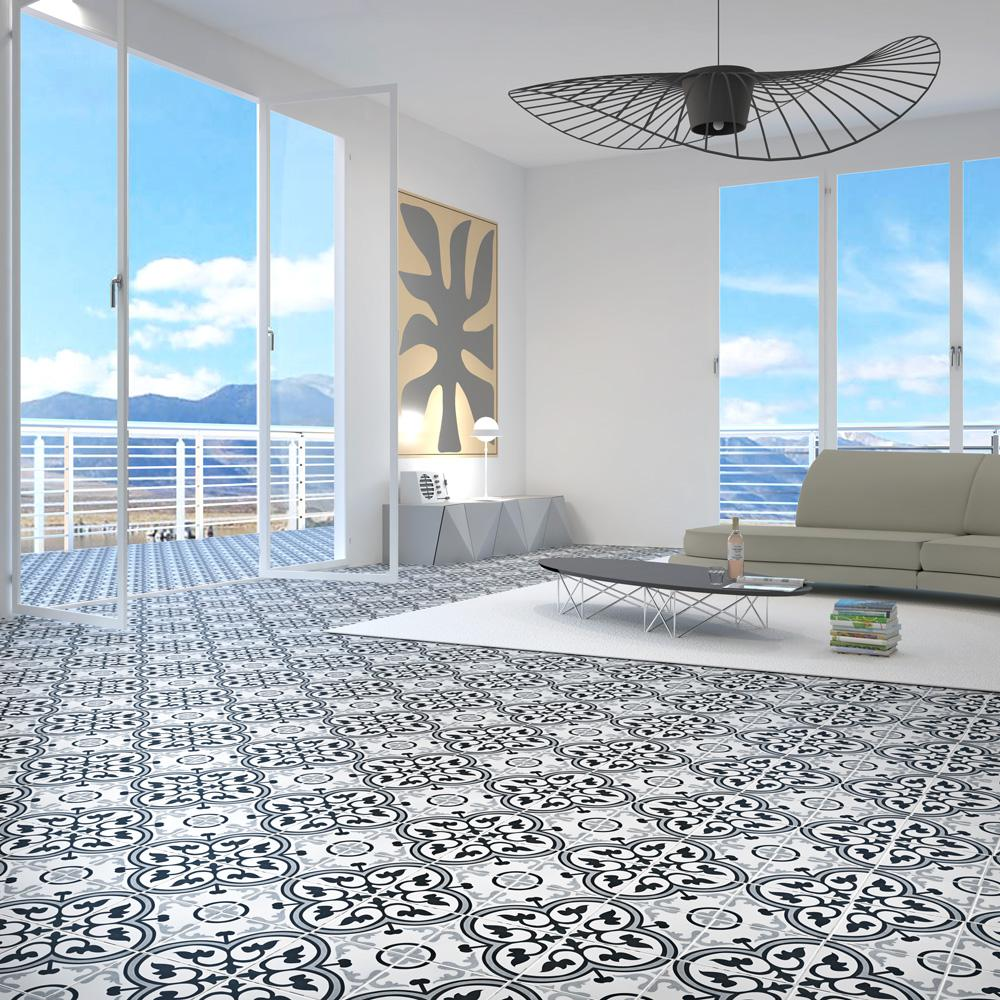 Merola black and white tile | Hampton Flooring Center